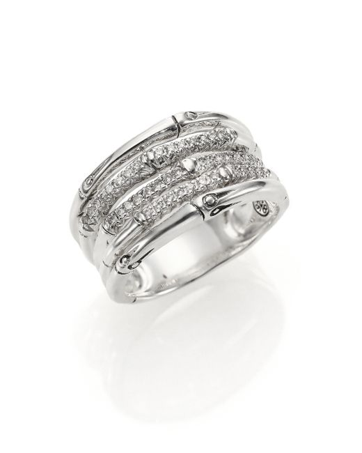 John Hardy | Metallic Bamboo Diamond & Sterling Silver Five-row Ring | Lyst
