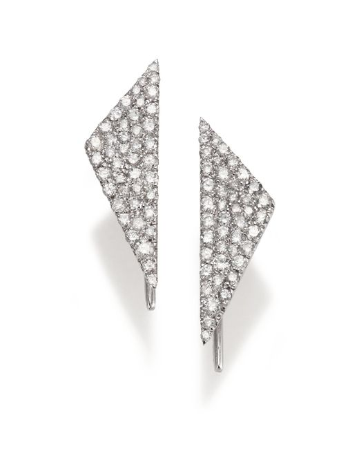 Meira T | Metallic Diamond & 14k White Gold Triangle Earrings | Lyst