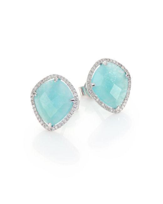 Meira T | Blue Amazonite, Diamond & 14k White Gold Stud Earrings | Lyst