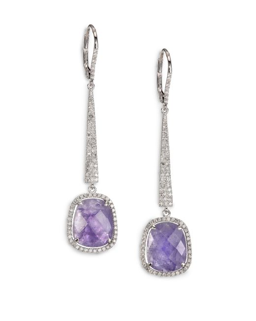 Meira T | Purple Tanzanite, Diamond & 14k White Gold Drop Earrings | Lyst