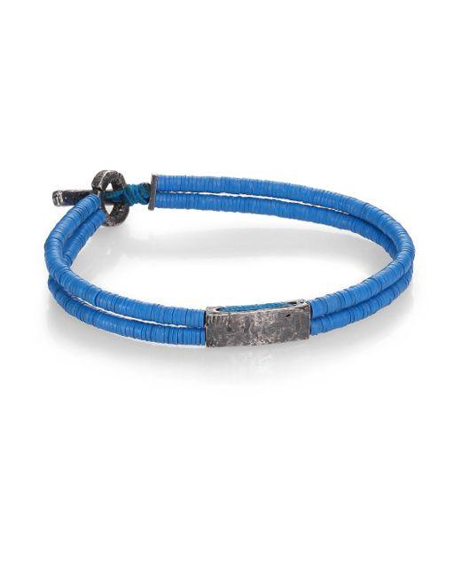 M. Cohen | Blue Small Bar Vinyl & Silver Bracelet | Lyst