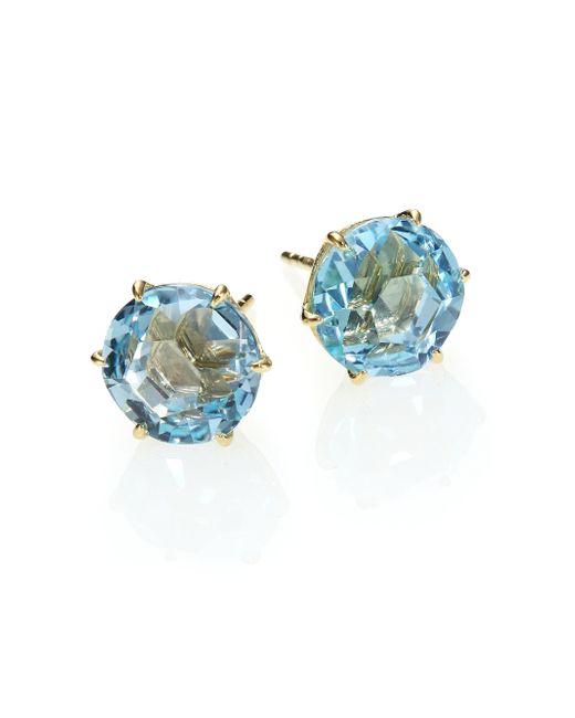 Ippolita | Rock Candy Blue Topaz & 18k Yellow Gold Stud Earrings | Lyst