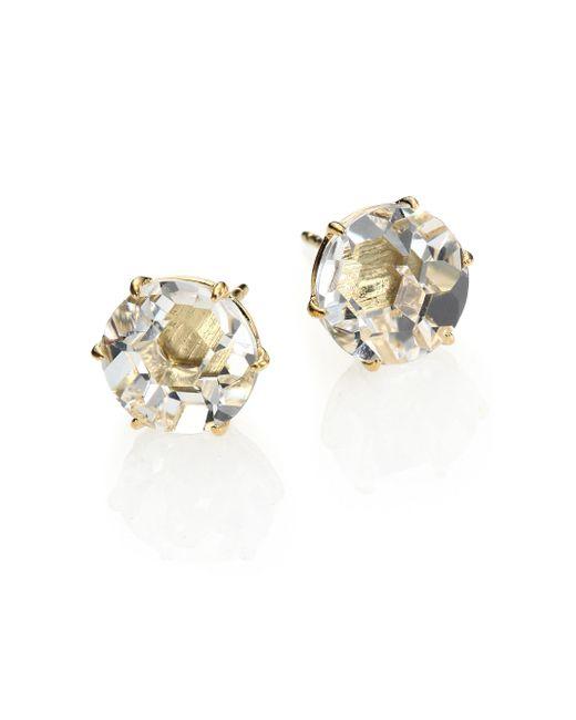Ippolita | Metallic Rock Candy Clear Quartz & 18k Yellow Gold Stud Earrings | Lyst