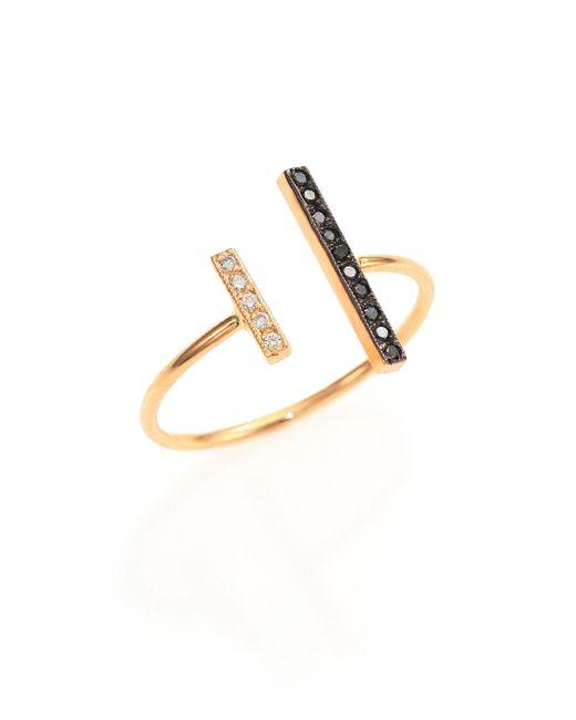 Zoe Chicco | Metallic Black/white Diamond & 14k Yellow Gold Mixed Bar Open Ring | Lyst