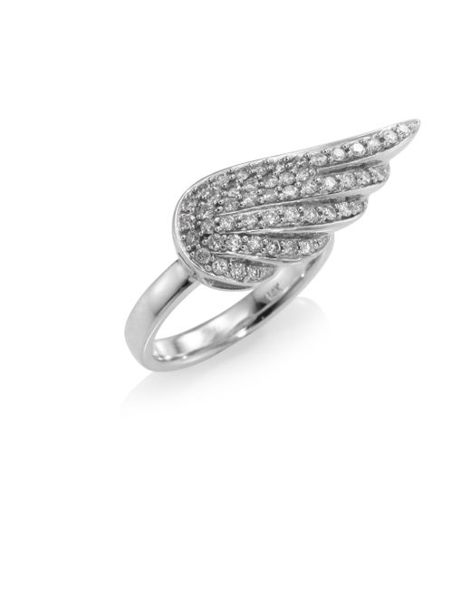 Sydney Evan | Metallic Angel Wing Diamond Ring | Lyst