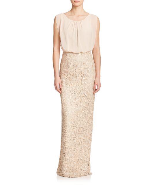 Aidan Mattox | Metallic Lace & Chiffon Bridesmaid Gown | Lyst