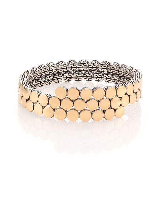 John Hardy   Metallic Dot 18k Yellow Gold & Sterling Silver Two-row Coil Bracelet   Lyst