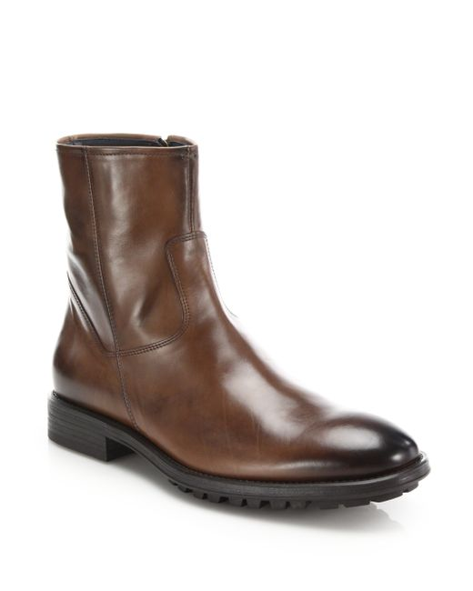 To Boot | Brown Harrison Leather Side-zip Boots for Men | Lyst
