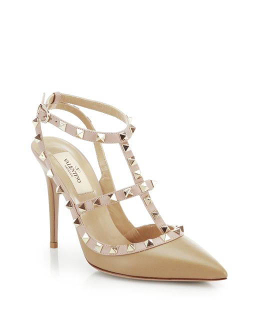 Valentino | Brown Rockstud Two-tone Leather Pumps | Lyst