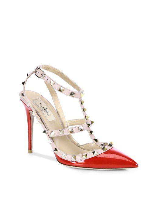 Valentino | Pink Patent Leather Rockstud Slingbacks | Lyst