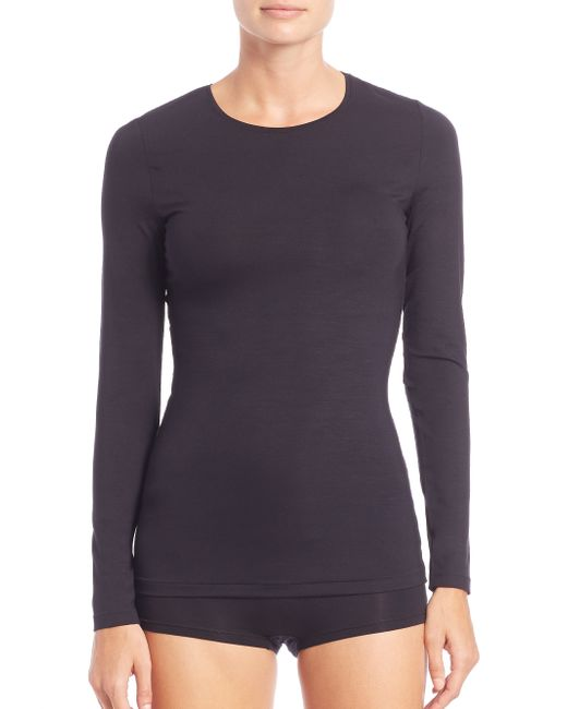 Hanro | Black Soft Touch Long-sleeve Top | Lyst