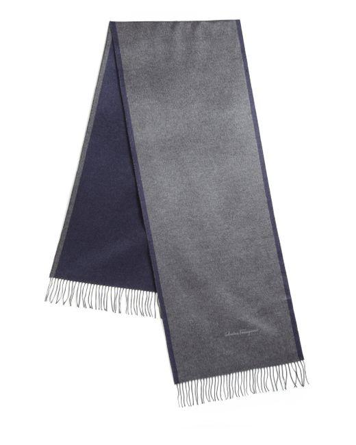 Ferragamo   Gray Two-tone Fringed Silk Scarf for Men   Lyst