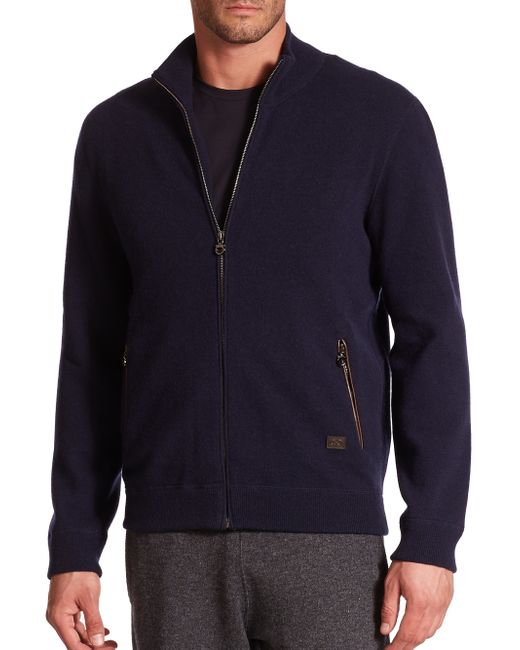 Ferragamo | Blue Full Zip Cashmere Sweater for Men | Lyst