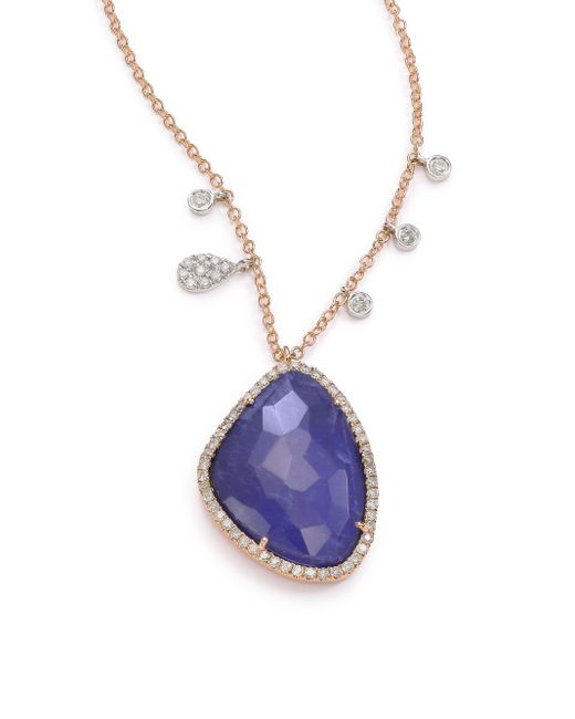 Meira T | Blue Sodalite, Diamond & 14k Rose Gold Pendant Necklace | Lyst