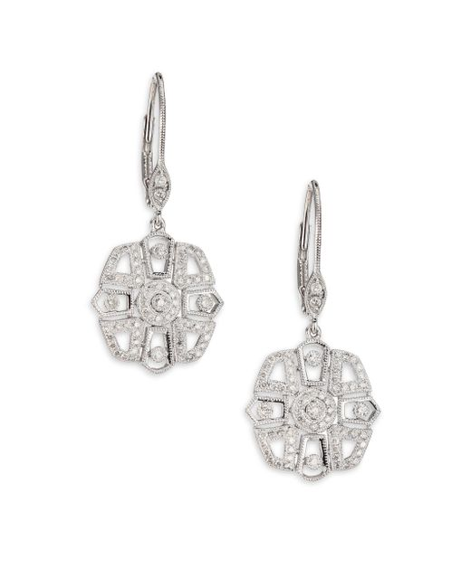Meira T | Diamond & 14k White Gold Deco Drop Earrings | Lyst