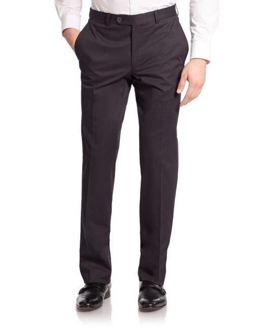 Saks Fifth Avenue | Blue Stretch Cotton Dress Pants for Men | Lyst