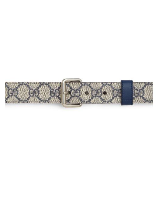 Gucci | Blue Reversible Leather & Gg Supreme Belt for Men | Lyst