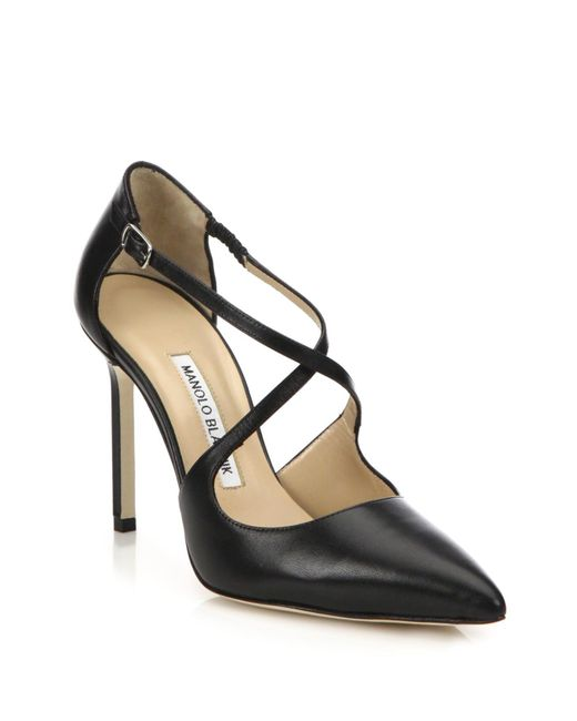 Manolo Blahnik | Black Umice Leather Crisscross Pumps | Lyst
