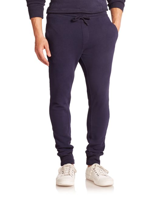Wahts | Blue Cotton & Cashmere Cuffed Sweatpants for Men | Lyst