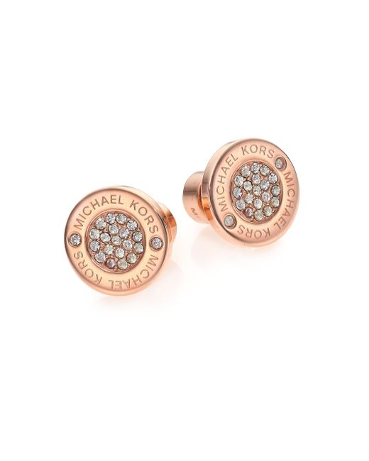 Michael Kors | Pink Heritage Plaque Pave Logo Stud Earrings/rose Goldtone | Lyst