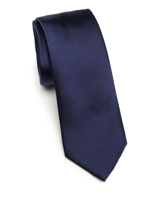 Saks Fifth Avenue | Blue Solid Silk Tie for Men | Lyst