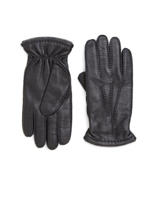 Saks Fifth Avenue | Black Deerskin Leather Gloves for Men | Lyst