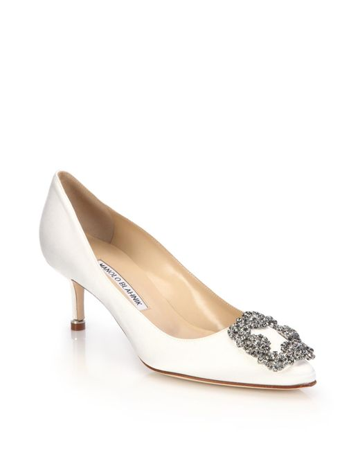 Manolo Blahnik | White Hangisi 50 Satin Pumps | Lyst