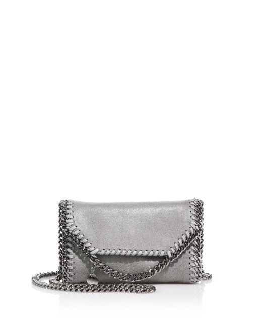 Stella McCartney | Metallic Tiny Falabella Faux Leather Fold-over Chain Crossbody Bag | Lyst