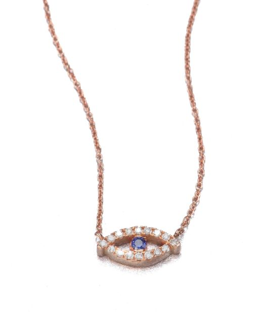 Diane Kordas | Pink Diamond, Sapphire & 18k White Gold Evil Eye Necklace | Lyst