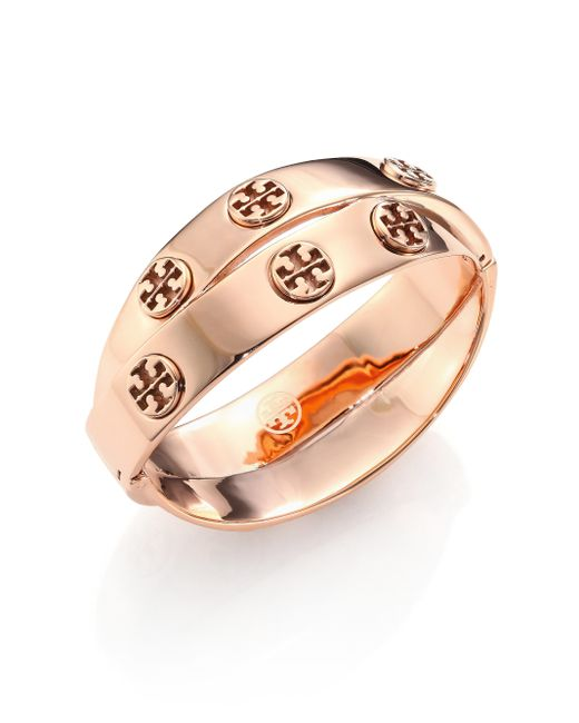 Tory Burch | Pink Studded Double-wrap Logo Bracelet/rose Goldtone | Lyst