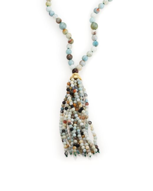 Kenneth Jay Lane | Blue Beaded Long Tassel Necklace | Lyst
