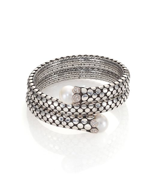 John Hardy | Metallic Dot 11mm White Pearl, Diamond & Sterling Silver Double Coil Bracelet | Lyst