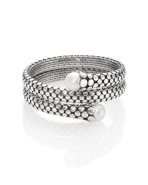 John Hardy | Metallic Dot 11mm White Pearl & Sterling Silver Double Coil Bracelet | Lyst