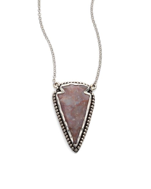 Pamela Love | Metallic Jasper & Sterling Silver Arrowhead Pendant Necklace | Lyst