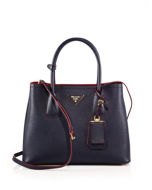 Prada | Blue Saffiano Cuir Small Double Bag | Lyst