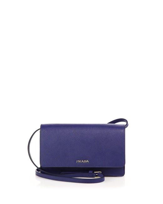 Prada | Blue Saffiano Lux Small Crossbody Bag | Lyst