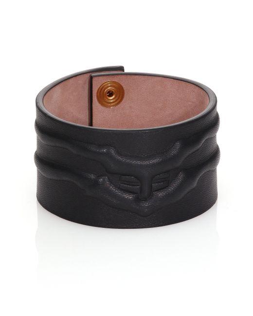 Alexander McQueen | Black Rib Cage Leather Cuff Bracelet for Men | Lyst