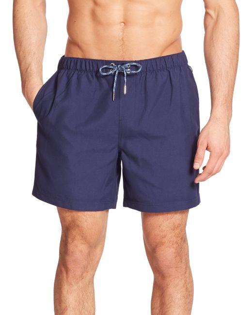 Original Penguin | Blue Solid Volley Swim Trunks for Men | Lyst