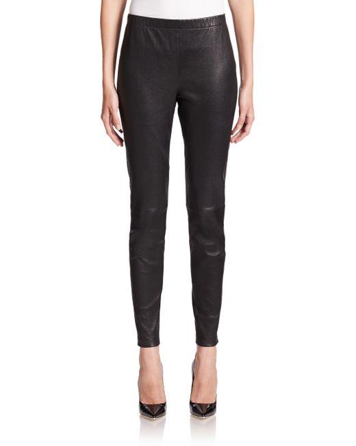 St. John | Black Leather Cropped Leggings | Lyst