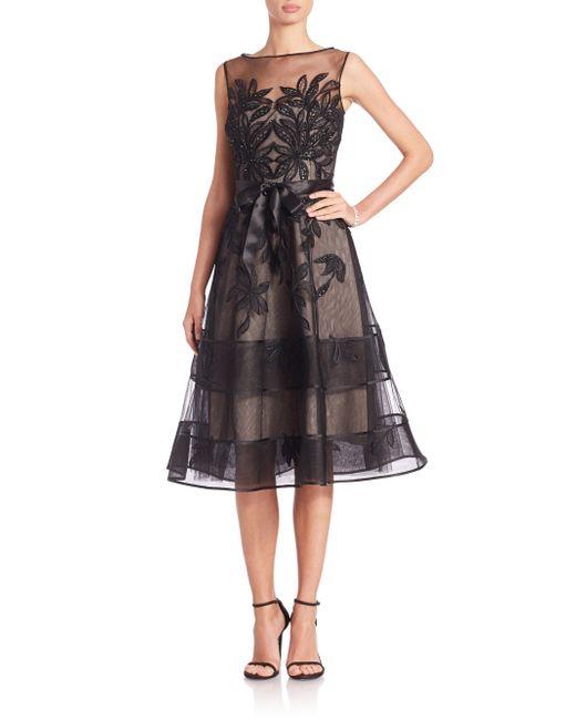 Teri Jon Lace Illusion Sleeveless Dress In Black Lyst