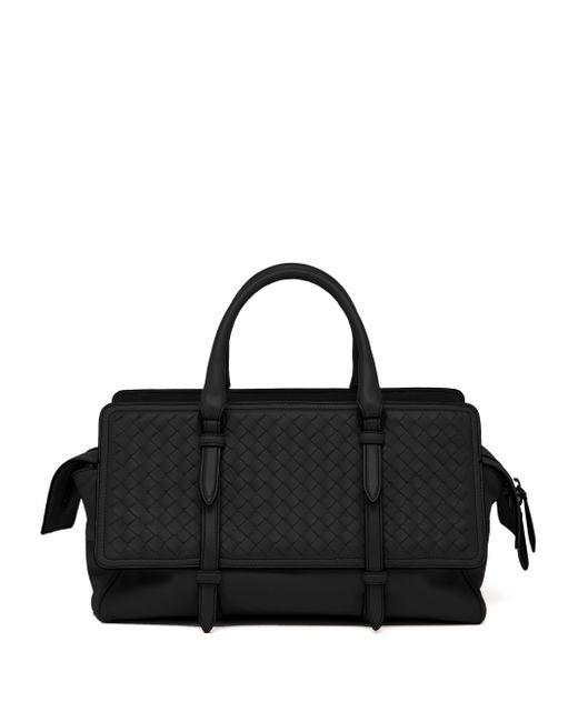 Bottega Veneta | Black Belted Basket-weave Leather Satchel | Lyst