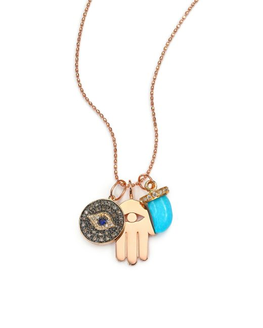 Sydney Evan | Pink Turquoise, Sapphire, Multicolor Diamond & 14k Rose Gold Spiritual Trio Charm Necklace | Lyst
