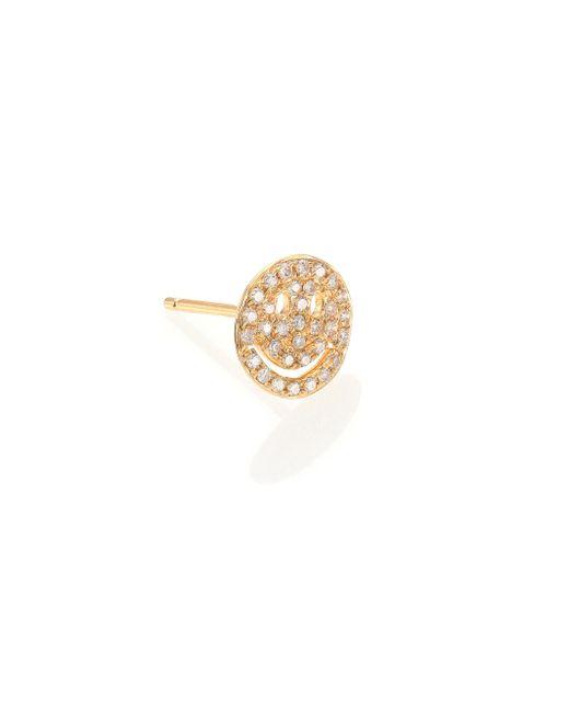 Sydney Evan | Metallic Diamond & 14k Yellow Gold Happy Face Single Stud Earring | Lyst
