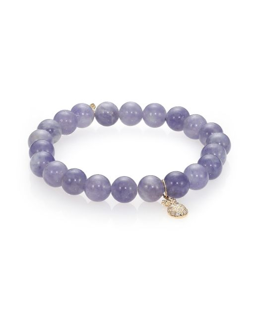 Sydney Evan | Purple Diamond, Iolite & 14k Yellow Gold Pineapple Beaded Stretch Bracelet | Lyst