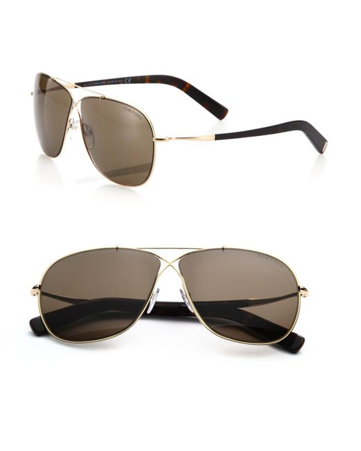 Tom Ford | Metallic April Criss-cross 61mm Aviator Sunglasses for Men | Lyst