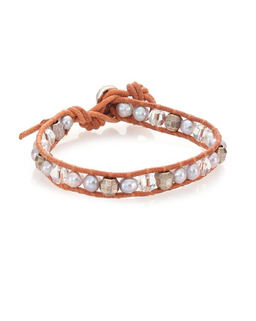 Chan Luu | Metallic 6mm Grey Potato Pearl, Crystal & Leather Wrap Bracelet | Lyst