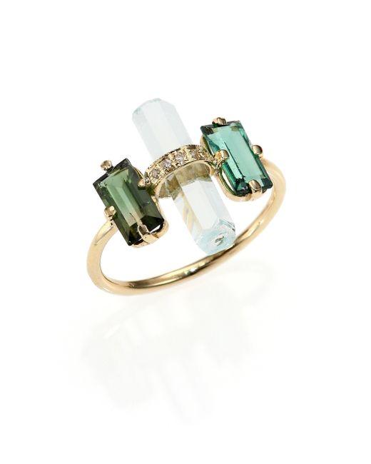 Jacquie Aiche | Metallic Green Tourmaline, Aquamarine, Diamond & 14k Yellow Gold Bar Ring | Lyst
