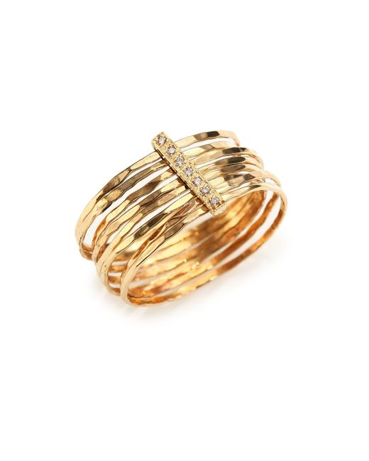 Jacquie Aiche | Metallic Diamond & 14k Yellow Gold Hammered Bar Ring | Lyst
