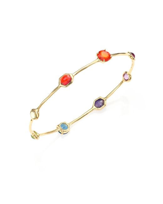 Ippolita   Multicolor Gelato Fall Rainbow Semi-precious Multi-stone & 18k Yellow Gold Eight-station Bangle Bracelet   Lyst