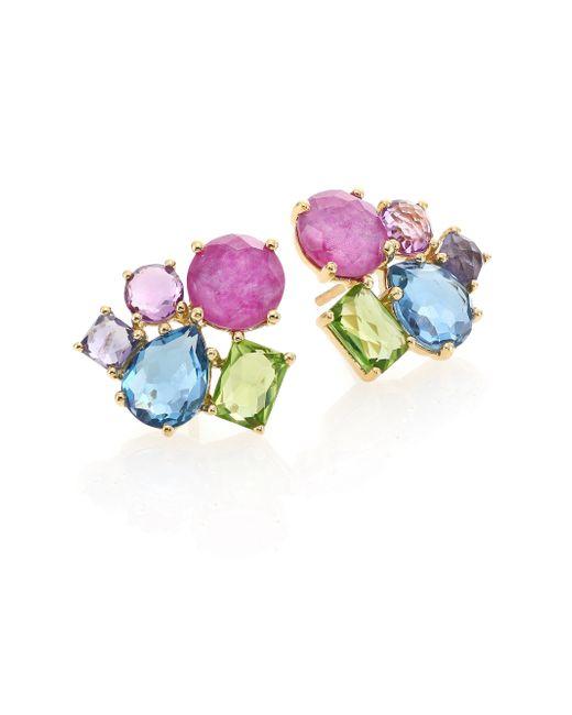 Ippolita | Multicolor Rock Candy Fall Rainbow Semi-precious Multi-stone & 18k Yellow Gold Cluster Earrings | Lyst